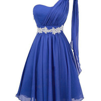 Cute one-shoulder chiffon mini prom dress/homecoming dress
