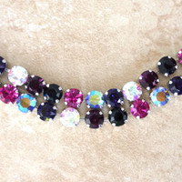 Swarovski crystal tennis bracelet, double row, black fuchsia purple, VALENTINE'S DAY, not sabika