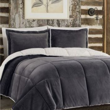 So Soft™ Plush Reversible Comforter Set in Grey