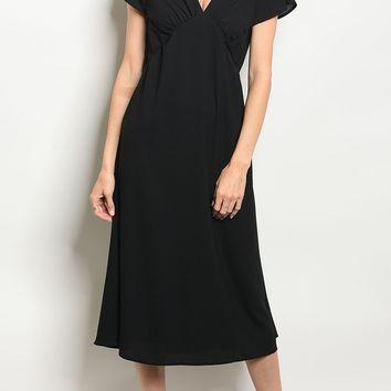 V-Neck Fitted Waist Midi Dress