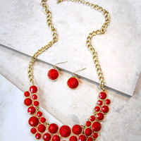 Small Circle Game Day Necklace and Earring Set in Red
