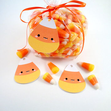 Kawaii Candy Corn Vampire Tags Cute Halloween Gift Tags for Trick or Treat Favor Bags