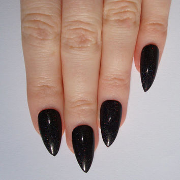 Holographic Black Stiletto nails, Nail designs, Nail art, Nails, Stiletto nails, Acrylic nails, Pointy nails, Fake nails
