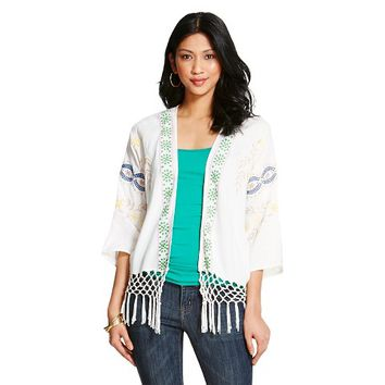 Women's Woven Embroidered Fringe Kimono Jacket - inLUV