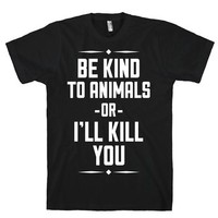 HUMAN Be Kind to Animals Black T-Shirt