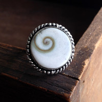 Seashell Ring - Sterling Silver over Copper - Size 7