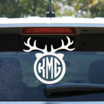 Circle Monogram Deer Head Car Decal