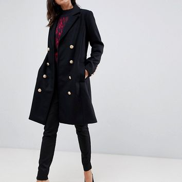 Y.A.S Gold Button Pea Coat at asos.com