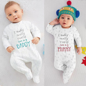 Toddler Kids Baby Boy Girl I Love Mom Dad Long Sleeve Cotton   Jumpsuit Bodysuit White