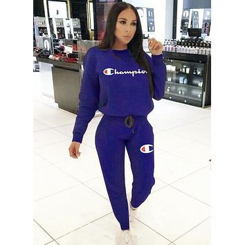 Champion Autumn And Winter New Fashion Embroidery Letter Women Men Sports Leisure Long Sleeve Top And Pants Two Piece Suit Blue