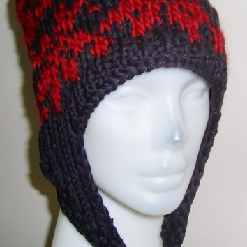 Womens wool tulips pattern hand knit ear-flap hat travel accessories