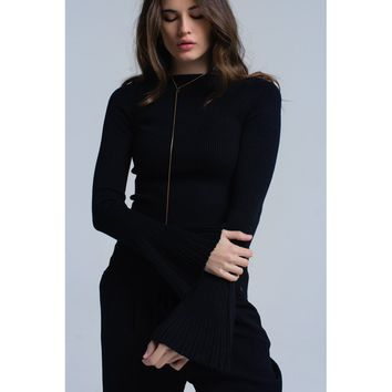 Black ribbed sweater with bell sleeves