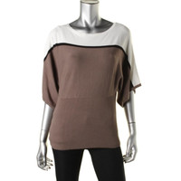 Style & Co. Womens Colorblock Kimono Sleeves Pullover Sweater