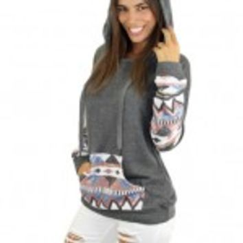 Gray Hooded Sweater With Sequins