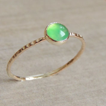 Chrysoprase Gold Ring, Cabochon Ring, Stacking Ring, Delicate Gemstone Jewelry, Stack Ring, Skinny Stacking Ring, Gift for Her