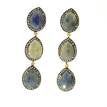 Multicolor Sapphire Earrings/ Gemstone Earrings/ Fancy Earrings