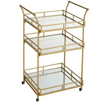 Gold Square Bar Cart