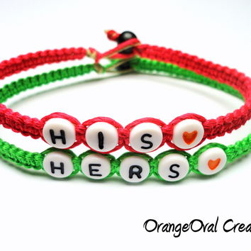 Bracelets for Couples, His and Hers Neon Green and Hot Pink Bamboo Bracelets