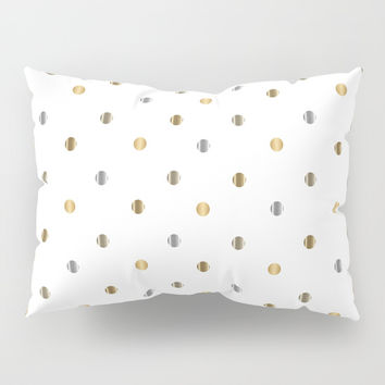 Silver and Gold Polka Dot Design Pillow Sham by Donna Siegrist