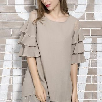 Tiered Ruffle Layer Accent Tunic - Taupe