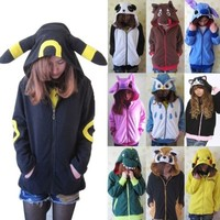 Cute Cosplay Anime Costume Ears Face Tail Zip Hooded Sweatshirt Hoodies Jacket