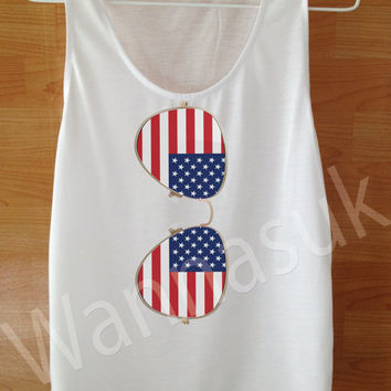 Music On Tank Sunglassed American Flag Tank Custom Handmade Screen Print Funny White harry potter Clothing Women Tee Tshirt Shirt S M L