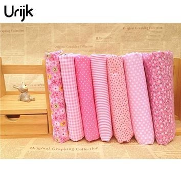 Urijk 7PCs/set 25*25cm Red DIY Patchwork Fabrics For Sewing The Cloth Quilting Cotton Fabric For Needlework Bedding Doll Textile