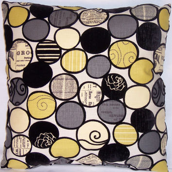 "Modern Newsprint Circles Throw Pillow in Grey Black Yellow Cover and Insert 17"" Square Cushion Document Script Bubbles Black Velvet Flocked"