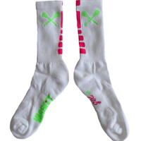 Lacrosse Varsity Girl Neon Pink and Green Socks