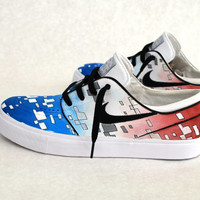 America Red White and Blue Themed Stefan Janoskis - Custom NikeSB Sneakers