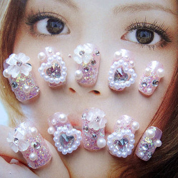 fake nail.kawaii pink heart nails.3D