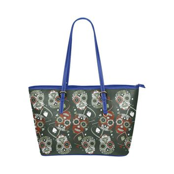 Hip Water Resistant Small Leather Tote Bags Sugar Skull #19 (5 colors)