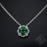Ben Garelick Art Deco Emerald and Diamond Pendant