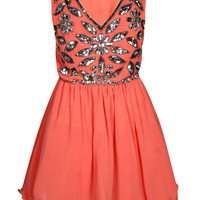 Keira Floral Embellished Skater Prom Dress