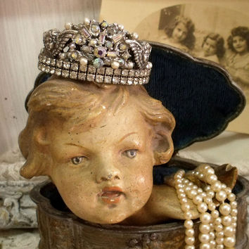 Vintage rhinestones silver Cherub Crown statue decor Virgin statue crown shabby chic small head adorn