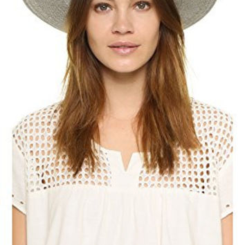 Janessa Leone Women's Bryony Short Brimmed Panama Hat, Silver Sage, Large