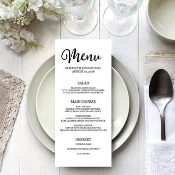 Printable menu template, Wedding menu design template, Bridal shower brunch menu template, graduation, Modern menu digital download, 4x9 5x7