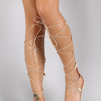 Qupid Jelly Elasticized Strappy Gladiator Flat Sandal