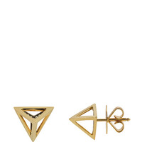 Tetrahedron Stud Earrings in 18K Gold and White Diamonds by Noor Fares for Preorder on Moda Operandi