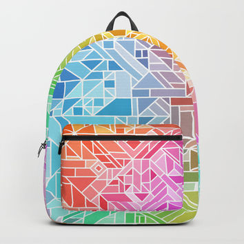 BRIGHT VIBRANT GRADIENT GEOMETRIC SHAPES RAINBOW PRINT TILED MOSAIC TIE DYE COLORFUL Backpacks by AEJ Design