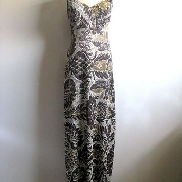 Vintage 1970s Maxi Dress Brown Silver Lurex 70s Pineapple Sleeveless Summer Resort Evening Gown Sm-Med