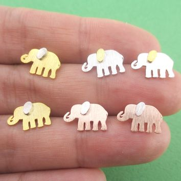 Classic Minimal Elephant Silhouette Shaped Allergy Free Stud Earrings