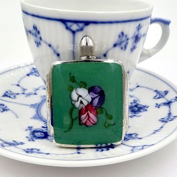 Vintage STERLING PERFUME BOTTLE Sterling Silver Enamel Sweet Pea Flowers Mini Perfume Bottle Flask
