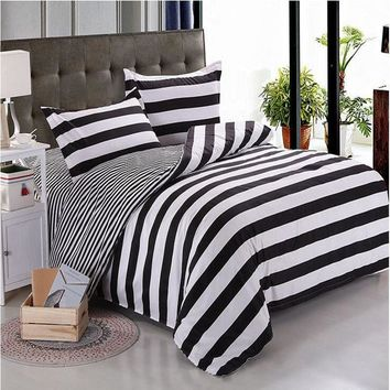Black  White Stripe  Printing Bedding Sets Twin  Queen  Super King Size 2/3Pcs Duvet Cover Pillowcase