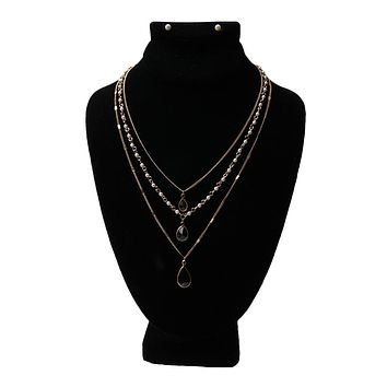 Dainty Multi Layer Black and Pearl Necklace Set