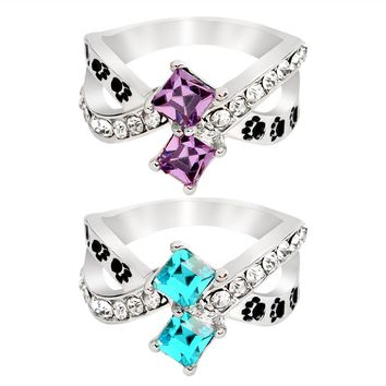 Dog Paw Claw footprints Purple Blue Crystal Cross Ring
