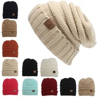 Women Men Winter Knitted Wool Cap Unisex Folds Casual CC labeling Beanies Hat Solid Color Hip-Hop Skullies Beanie Hat Gorros