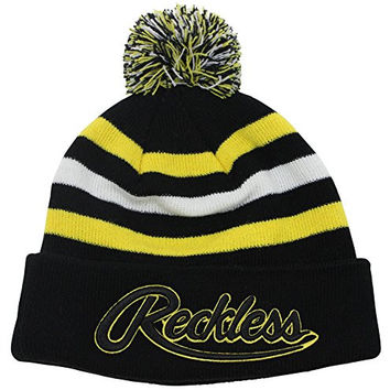 Young & Reckless Men's Logo Embroidered Knit Pom Beanie Black