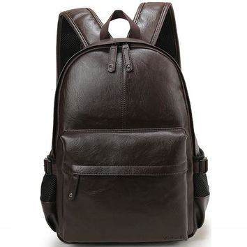 Simple Leather Casual Backpack