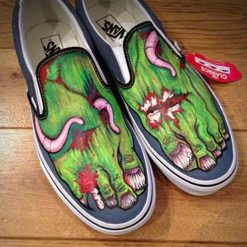 Custom Zombie Feet Canvas Shoes Van Or Toms Style